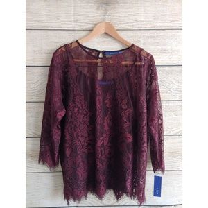 NWT Apt. 9 Maroon Lace Long Sleeve Flowy Blouse L